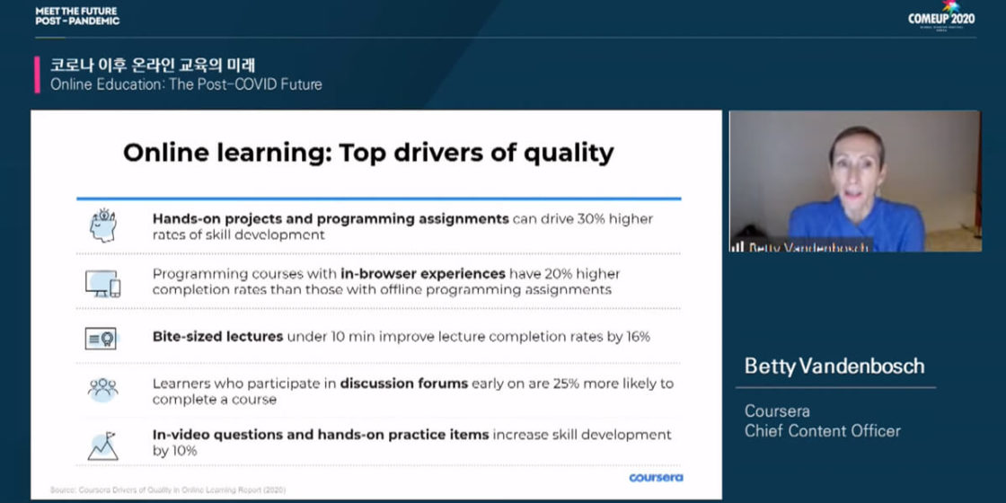 Betty Vandenbosch, Chief Content Officer Coursera discussing the tope drivers for quality online learning during the COMEUP 2020 event.