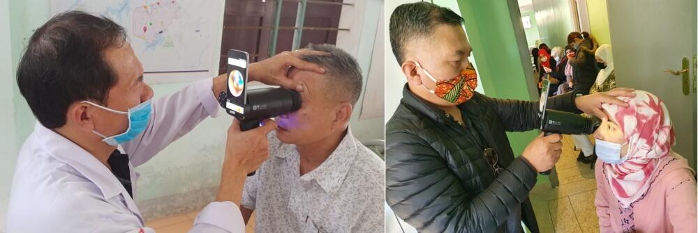 Patients undergo screening for eye disease in Vietnam (left), Morocco (right). (Samsung Electronics)